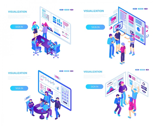 Zestaw bannerów wizualizacyjnych. izometryczny zestaw transparentu wektor wizualizacji na projektowanie stron internetowych Premium Wektorów