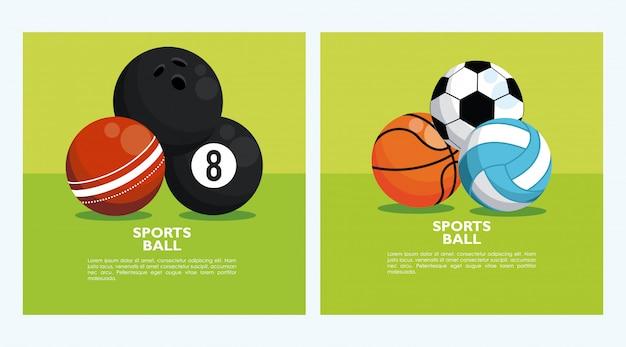 Zestaw Bannerów Z Piłek Sportowych Premium Wektorów