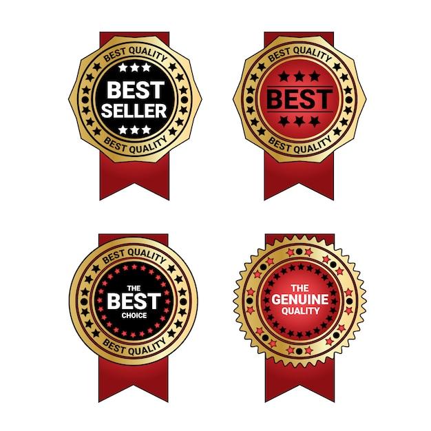 Zestaw bestseller i jakości medale złotą odznakę z czerwoną wstążką dekoracji odizolowane Premium Wektorów