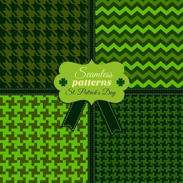 Zestaw Bez Szwu Moda Wzór Og Zielone Kolory W Różnych Teksturach. Obchody Dnia świętego Patryka. Premium Wektorów