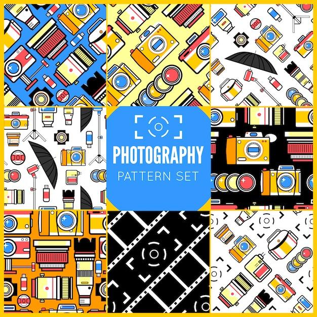 Zestaw bez szwu wzorów fotografii Premium Wektorów