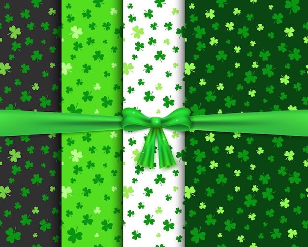 Zestaw bez szwu wzorów z shamrocks w kolorach zielonym Premium Wektorów