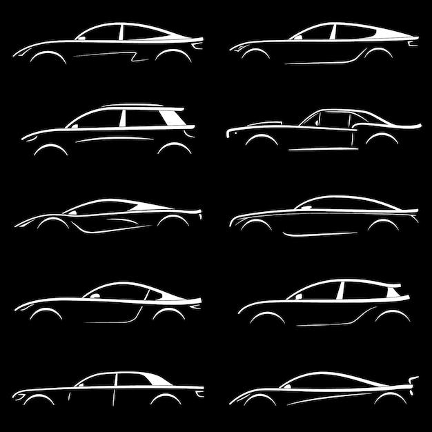 Zestaw biały samochód sylwetka. Premium Wektorów
