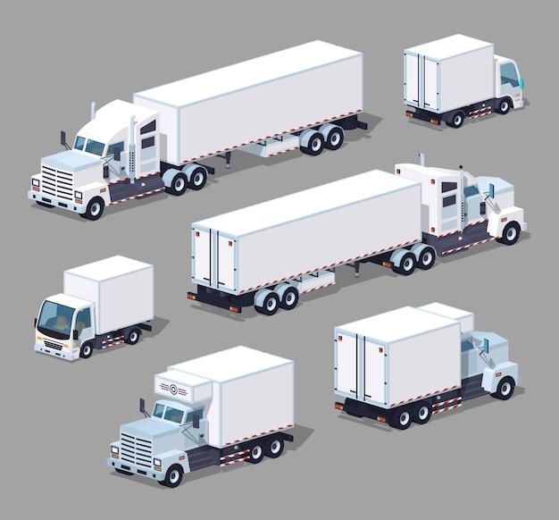 Zestaw białych ciężarówek izometrycznych 3d lowpoly Premium Wektorów