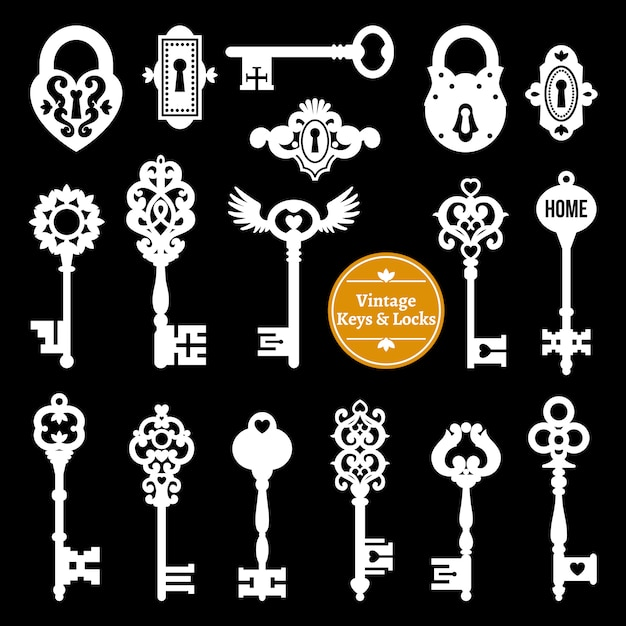 Zestaw białych kluczy i zamków Darmowych Wektorów
