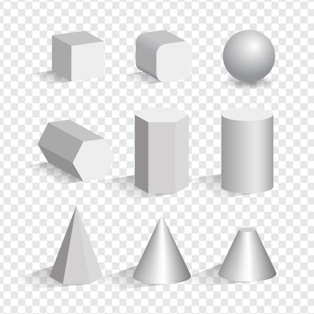 Zestaw Białych Obiektów 3d O Różnych Kształtach. Sześcian, Piramida, Cylinder, Kula, Stożek. Premium Wektorów