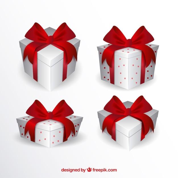 Zestaw białych pudełka z czerwonymi wstążkami Darmowych Wektorów