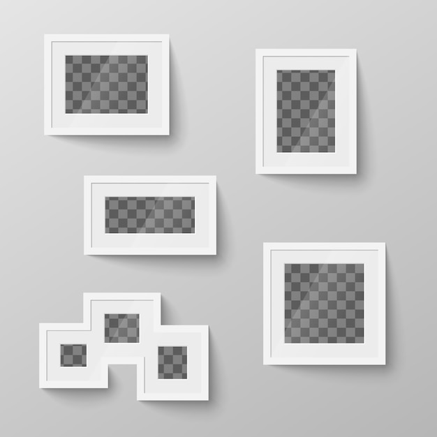 Zestaw Białych Pustych Ramek Z Przezroczystym Miejscem Na Zdjęcie Premium Wektorów