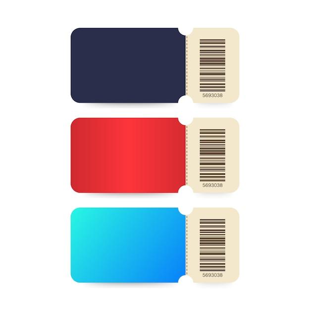 Zestaw biletów. bilety szablonowe. kolorowy bilet do kina na białym tle. Premium Wektorów