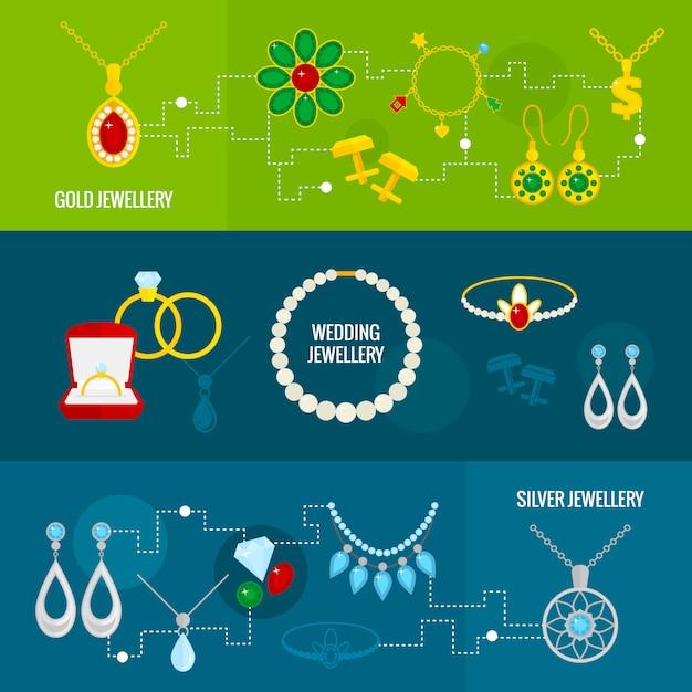 Zestaw biżuterii banerów Premium Wektorów