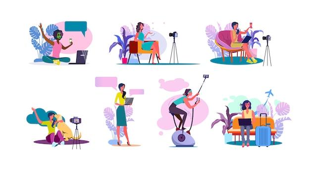 Zestaw Blogerów Wideo Darmowych Wektorów