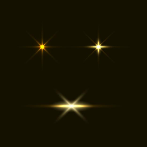 Zestaw błysków, świateł i iskier. streszczenie złote światła na przezroczystym tle. jasne złote błyski i spojrzenia Premium Wektorów