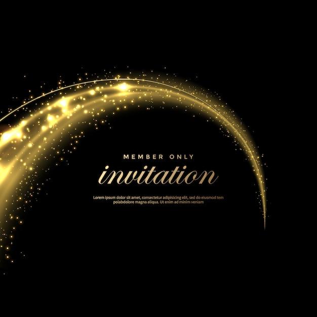 Zestaw Błyszczące Ogony Kurzu W Złotym Stylu, Złoty Brokat Streszczenie Tło Premium Wektorów