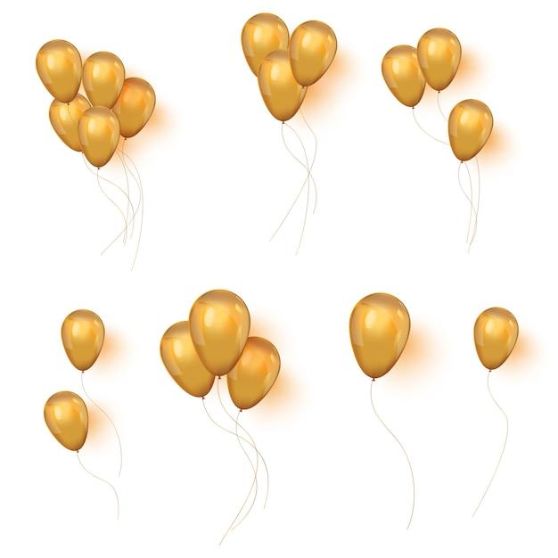Zestaw Błyszczące Złote Balony Do Projektowania Premium Wektorów