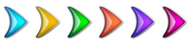 Zestaw Błyszczących Strzałek. Streszczenie Wektor Strzałki Na Białym Tle. Premium Wektorów
