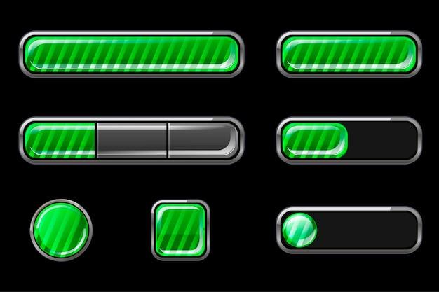 Zestaw Błyszczących Zielonych Pasków Przycisków Interfejsu Darmowych Wektorów