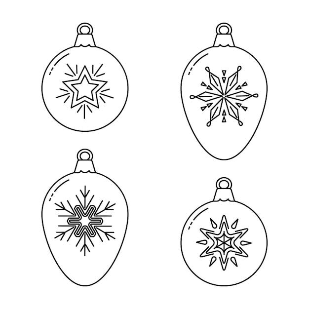 Zestaw bombek świątecznych Premium Wektorów