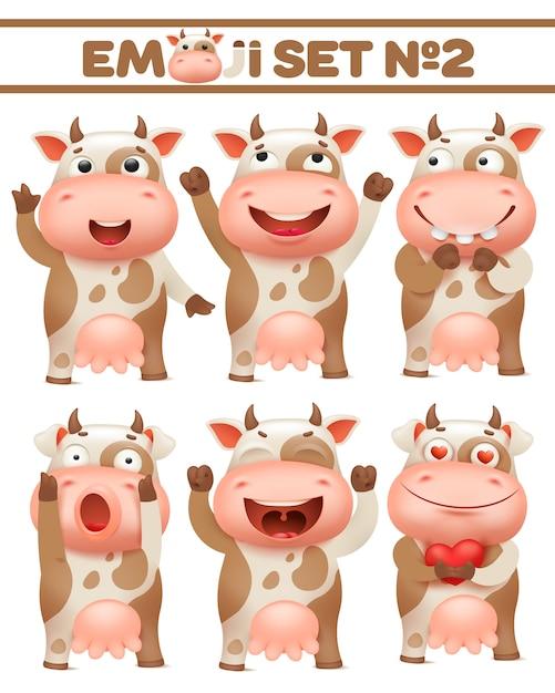 Zestaw Brązowy Krowa Zauważył, Charakter Zwierząt Gospodarskich W Różnych Pozach Ilustracje Wektorowe Premium Wektorów