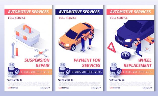 Zestaw broszur reklamowych na usługi samochodowe Premium Wektorów