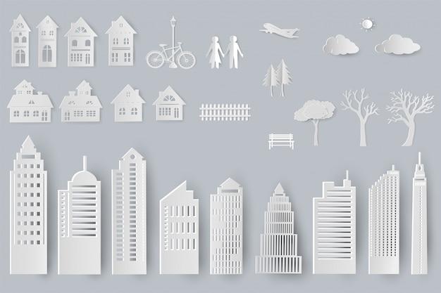 Zestaw budynków, domów, drzew na białym tle obiektów do projektowania w stylu cięcia papieru Premium Wektorów
