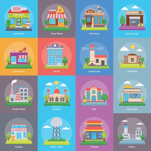 Zestaw Budynków I Konstrukcji Premium Wektorów