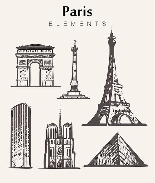 Zestaw Budynków Paryża Rysowane Ręcznie. Ilustracja Szkic Elementów Paryża. Wieża Eiffla łuk Triumfalny, Notre Dame, Place De La Bastille, Wieża Montparnasse. Premium Wektorów