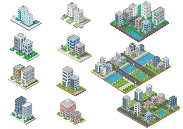 Zestaw budynku miasta izometryczny Premium Wektorów
