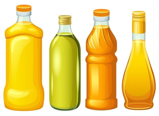 Zestaw Butelek Z Olejami Roślinnymi. Premium Wektorów