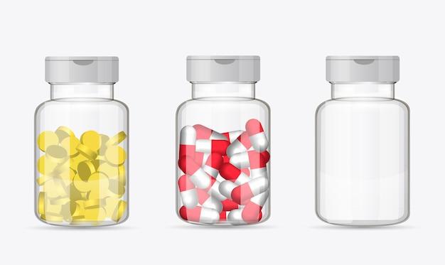 Zestaw butelek z pigułki Premium Wektorów