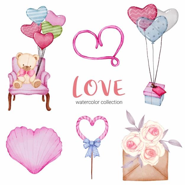 Zestaw Callection Miłość, Na Białym Tle Element Koncepcji Akwarela Valentine Piękne Romantyczne Czerwono-różowe Serca Do Dekoracji, Ilustracji. Darmowych Wektorów