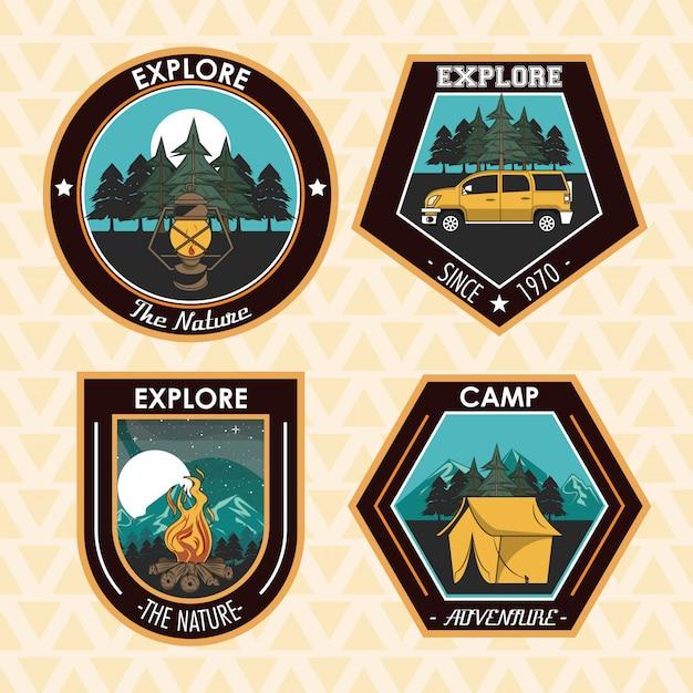 Zestaw Campingów Odkrywa Emblematy łatek Letnich Darmowych Wektorów