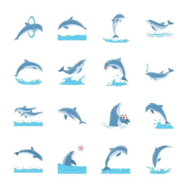 Zestaw Cartoon Delfinów Premium Wektorów