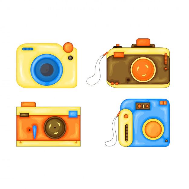 Zestaw Cartoon Ilustracji Wektorowych Aparatu Fotograficznego. Styl Kreskówki Premium Wektorów