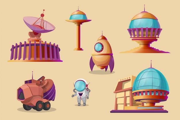 Zestaw cartoon kolonizacji marsa. spaceship, wahadłowiec, rakieta, mars rover - spychacz Darmowych Wektorów