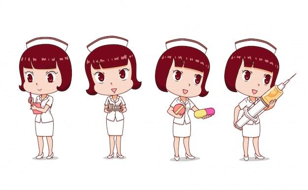 Zestaw cartoon nurse w różnych pozach. Premium Wektorów