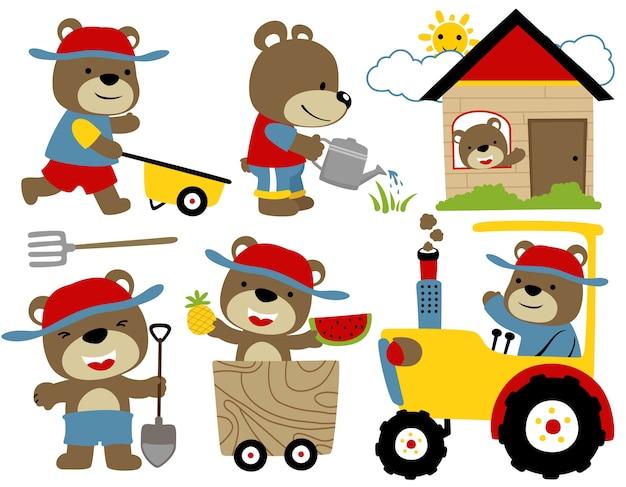 Zestaw Cartoon Wektor Zabawnych Zwierząt Z Urządzeń Rolniczych Premium Wektorów