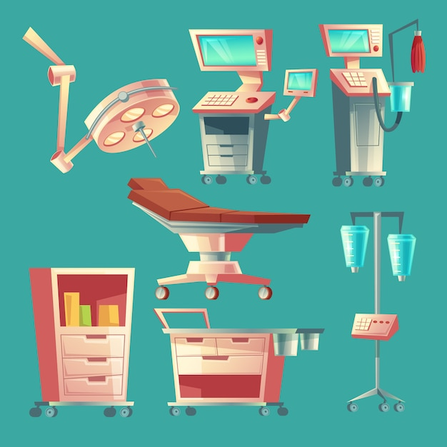 Zestaw Chirurgii Medycznej, Wyposażenie Szpitala Kreskówka. System Podtrzymywania życia Medycyny Z Lampą Darmowych Wektorów