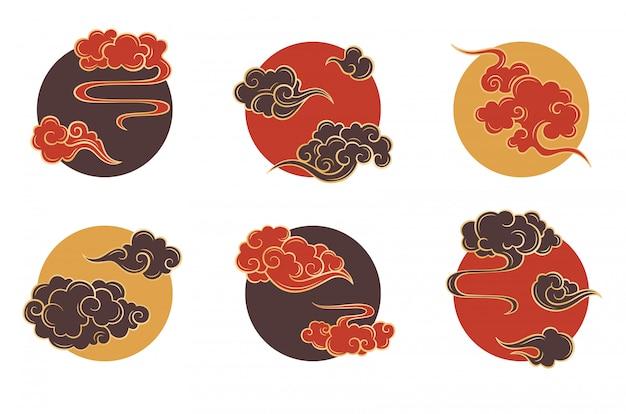 Zestaw chmura azjatyckie koło. tradycyjne chmurne ozdoby w chińskim, koreańskim i japońskim stylu orientalnym Premium Wektorów