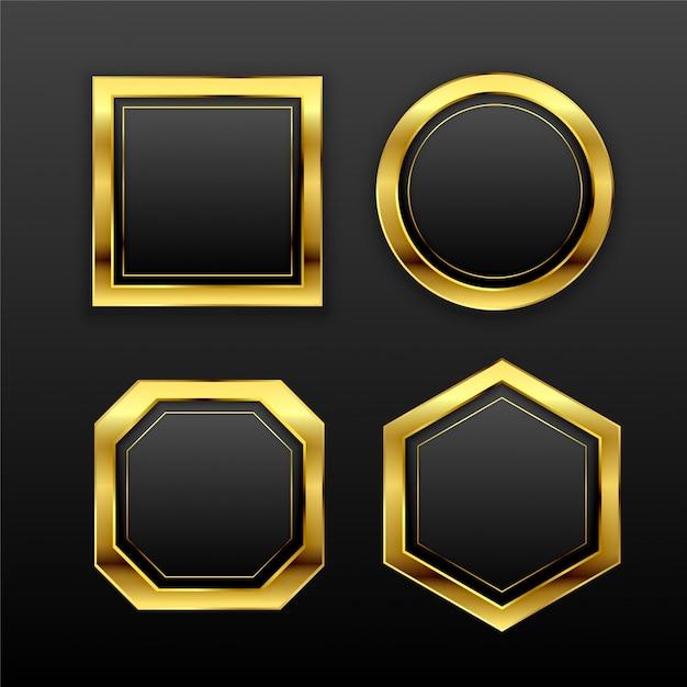 Zestaw ciemnych złotych geometrycznych pustych odznak etykiet Darmowych Wektorów