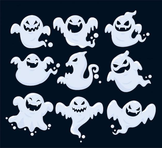 Zestaw cieni wielu duchów unoszących się na halloween. Premium Wektorów