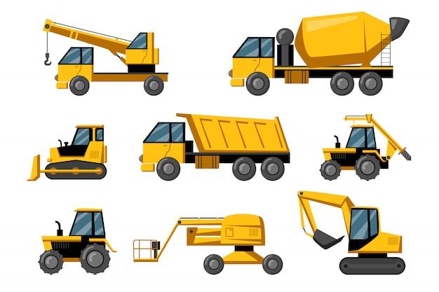Zestaw Ciężarówek Budowlanych Darmowych Wektorów