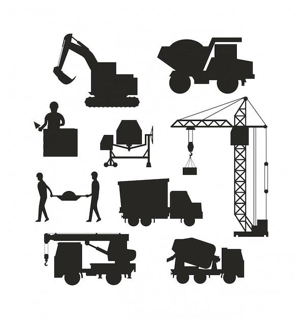 Zestaw Ciężkich Maszyn Budowlanych Sylwetka Maszyny Ikona Budynku Wektor Transportu. Premium Wektorów