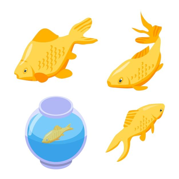 Zestaw clipartów złota rybka, izometryczny styl Premium Wektorów
