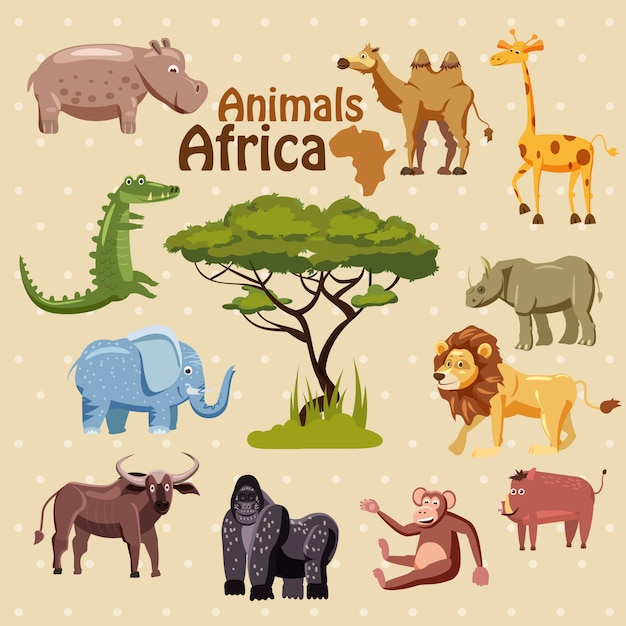 Zestaw cute afrykańskich zwierząt w stylu cartoon Premium Wektorów