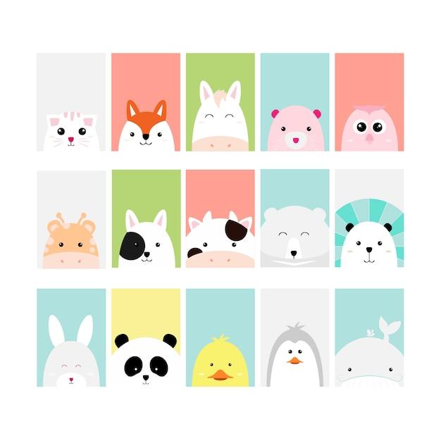 Zestaw Cute Baby Zwierząt Karta Kreskówka Ręcznie Rysowane Stylu Premium Wektorów