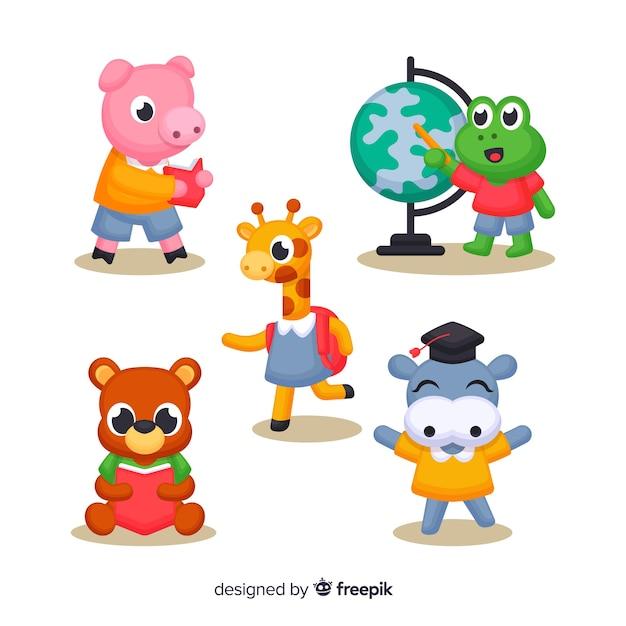 Zestaw cute ilustrowanych zwierząt w szkole Darmowych Wektorów