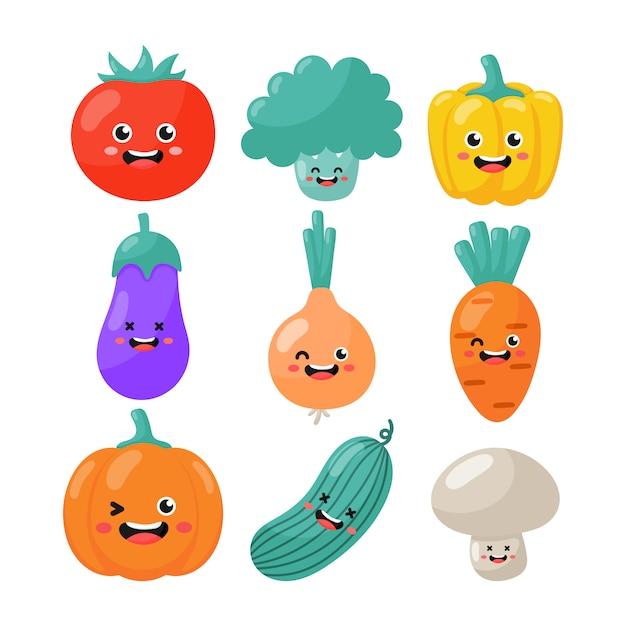 Zestaw Cute Kawaii Znaków Warzywnych Kawaii Styl Na Białym Tle Premium Wektorów