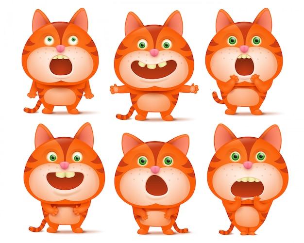 Zestaw cute kreskówek pomarańczowy kot w różnych pozach. Premium Wektorów