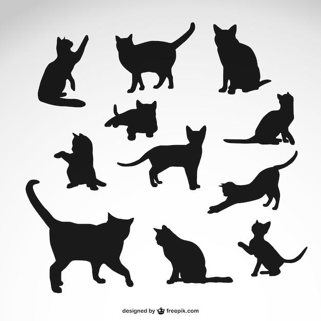 Zestaw czarne sylwetki kota Darmowych Wektorów