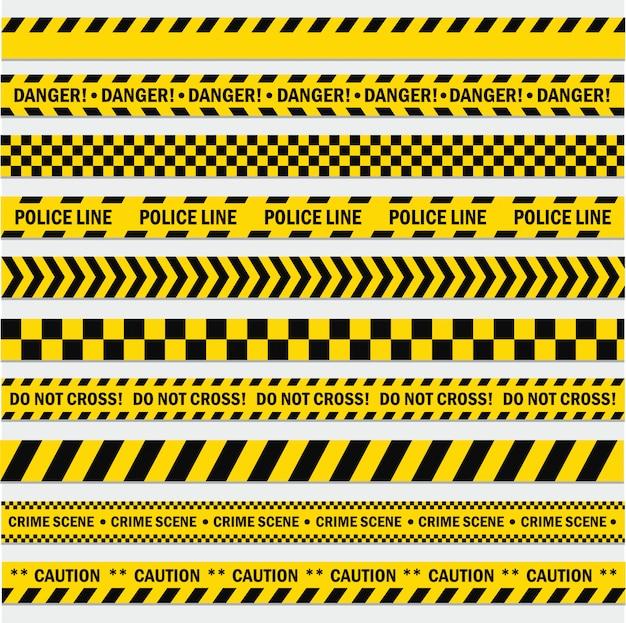 Zestaw czarno-żółte paski Premium Wektorów